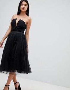 Платье миди с глубоким вырезом Rare - Черный