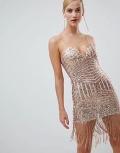Облегающее платье с бахромой и пайетками Rare - Золотой