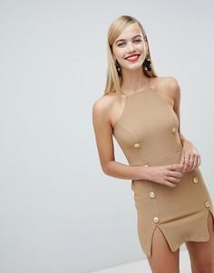 Платье в стиле милитари с разрезами Rare - Коричневый