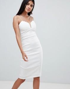 Платье миди с перекрестами Rare - Белый
