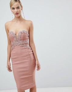 Ажурное платье миди без бретелек Rare - Розовый