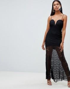 Кружевное платье макси с глубоким вырезом Rare - Черный