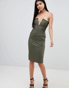 Платье миди с глубоким вырезом и карманами Rare - Зеленый