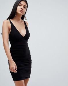 Платье мини со сборкой и перекрещенными бретелями на спине Rare - Черный