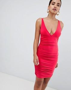 Платье мини со сборкой и перекрещенными бретелями на спине Rare - Красный