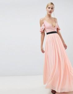 Платье макси с кружевным верхом и контрастной юбкой Rare - Розовый