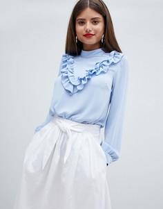Блузка с высоким воротом и оборкой Closet London - Синий