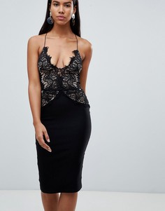 Платье миди с кружевным топом Rare - Черный