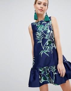 Платье с баской Closet London - Темно-синий