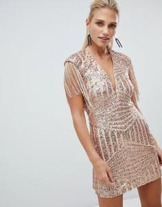 Платье мини ограниченной серии с бахромой и пайетками Rare - Золотой