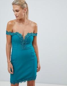Платье с кружевной отделкой Rare - Зеленый