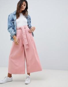Розовые вельветовые брюки с широкими штанинами ASOS DESIGN - Розовый