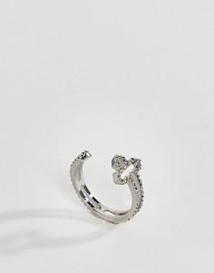 Серебристое кольцо в несколько оборотов с крестом ASOS DESIGN - Серебряный