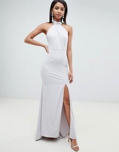 Серое платье макси с высоким воротом Jarlo - Серый