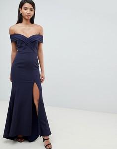 Темно-синее плиссированное платье макси Jarlo - Темно-синий