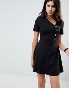 Короткое приталенное платье с пуговицами ASOS DESIGN - Черный