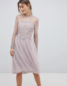 Короткое приталенное платье с длинными рукавами и высоким воротом Little Mistress - Розовый