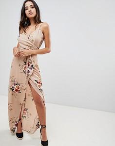 Платье макси с запахом и цветочным принтом Girl In Mind - Бежевый