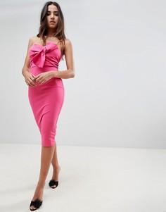 Платье миди с открытыми плечами и декоративным узлом Girl In Mind - Розовый