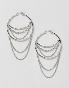 Серьги-кольца с цепочками New Look - Серебряный