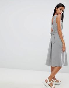 Платье миди в полоску с поясом Selected Femme - Мульти