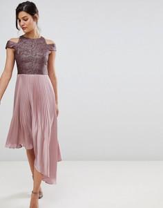Атласное асимметричное платье со складками Coast Delores - Розовый