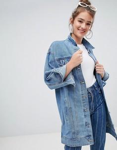 Удлиненная джинсовая куртка Pull&Bear - Синий Pull&Bear