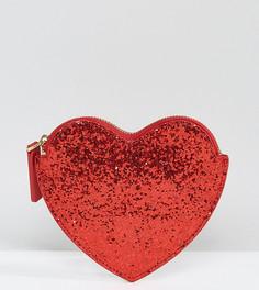 Красный блестящий кошелек в форме сердца Lulu Guinness - Красный