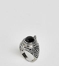 Кольцо с черным ониксом Rock N Rose - Серебряный