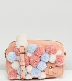 Розовая сумка через плечо с помпонами UGG Janey - Розовый
