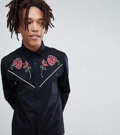 Рубашка в стиле вестерн с вышивкой роз Reclaimed Vintage - Черный
