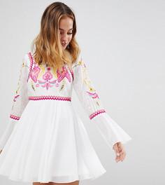 Платье мини с вышивкой и кружевом Frock And Frill Petite - Белый