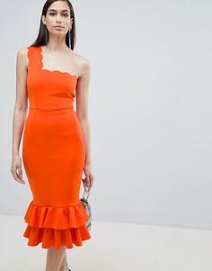 Платье миди на одно плечо с фактурной отделкой и оборками ASOS DESIGN - Оранжевый