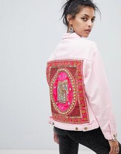Джинсовая куртка с отделкой на спине Elsie & Fred - Розовый