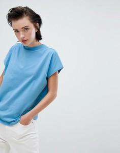 Голубая футболка с высоким воротом Weekday - Синий