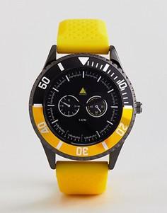Желтые часы в стиле oversize с резиновым ремешком и черным безелем ASOS - Желтый