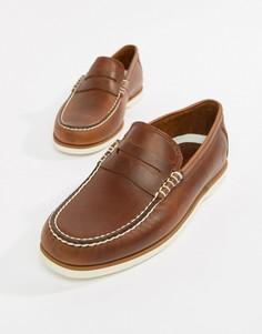 Коричневые классические кожаные мокасины Timberland - Коричневый