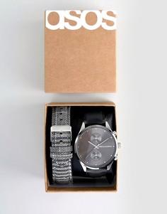 Часы со сменными ремешками ASOS DESIGN - Черный