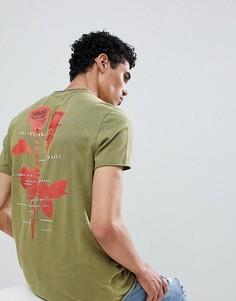 Длинная выбеленная футболка с принтом на спине ASOS DESIGN - Зеленый