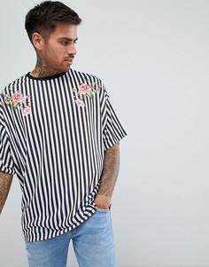 Oversize-футболка в полоску с цветочным принтом ASOS DESIGN - Мульти
