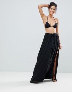 Пляжная юбка макси на шнуровке Surf Gypsy - Черный