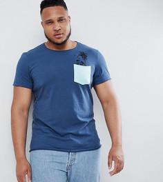 Футболка с пальмовым принтом на кармане Blend PLUS - Синий