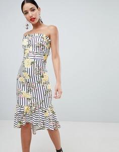 Платье миди бандо в полоску с цветочным принтом ASOS DESIGN - Мульти