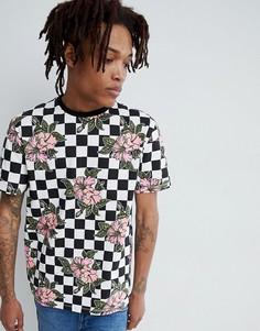 Свободная футболка с шахматным и цветочным принтом ASOS DESIGN - Мульти