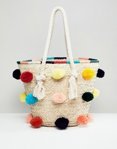 Соломенная пляжная сумка ручной работы с помпонами Park Lane - Мульти