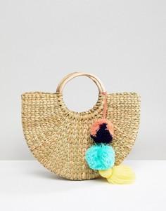 Структурированная соломенная сумка Park Lane - Кремовый