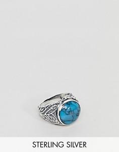 Массивное серебряное кольцо с бирюзовым камнем ASOS DESIGN - Серебряный