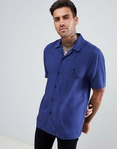 Синяя приталенная рубашка с воротником в виде лацканов Religion - Синий