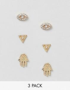 Набор из 3 серег-гвоздиков Nylon - Золотой