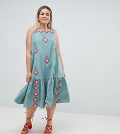 Платье-трапеция миди с вышивкой ASOS DESIGN Curve - Зеленый